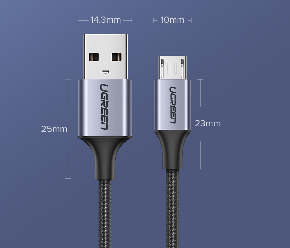 Ugreen Micro USB Cable 3A Nylon Fast Charging USB Type C Cable for Samsung Xiaomi HTC USB Charger Data Cable Mobile Phone Cable