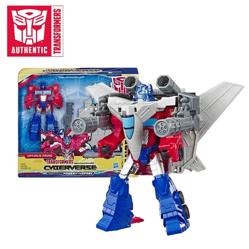 Transformateurs jouets Cyberverse étincelle armure Optimus Prime Action Figure-combine avec Sky Turbine étincelle véhicule armure pour alimenter