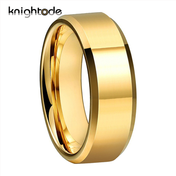 6mm 8mm High Polishing Gold Color Tungsten Carbide Wedding Band For Men Women Engagement Ring Jewelry Beveled Edges Comfort Fit