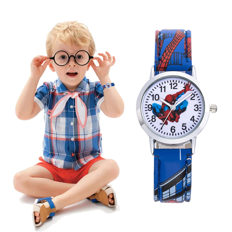 SpiderMan Watch Cute Cartoon Watch Kids Watches Rubber Quartz Watch Gift Children Hour Reloj Montre Relogio Relogio Infantil