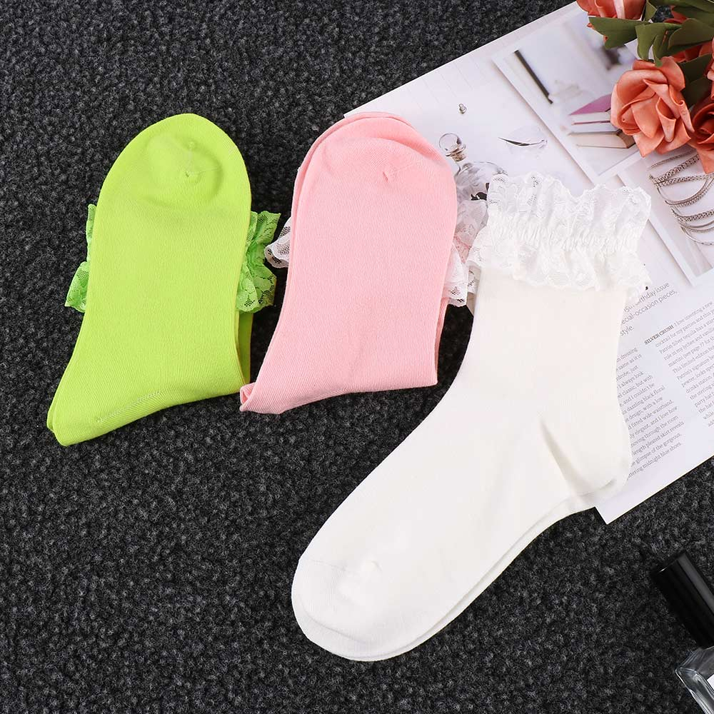 2020 Fashion Vintage Lace Ruffle Frilly Ankle Socks Ladies Princess Girl Favorite Solid 6 Color Available Cotton Socks