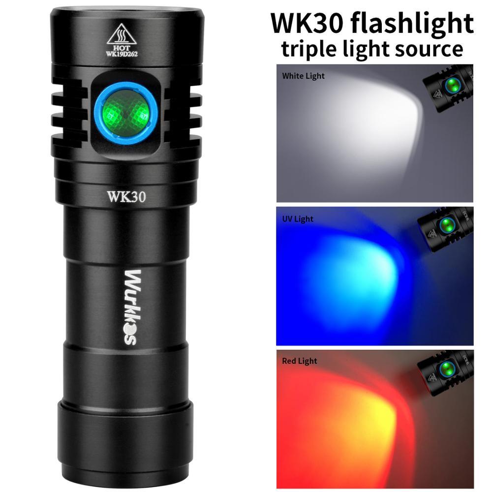 WK30 wielokolorowy akumulatorowa lampa led latarka 26650 LH351D czerwone światło światło ultrafioletowe z wskaźnik zasilania