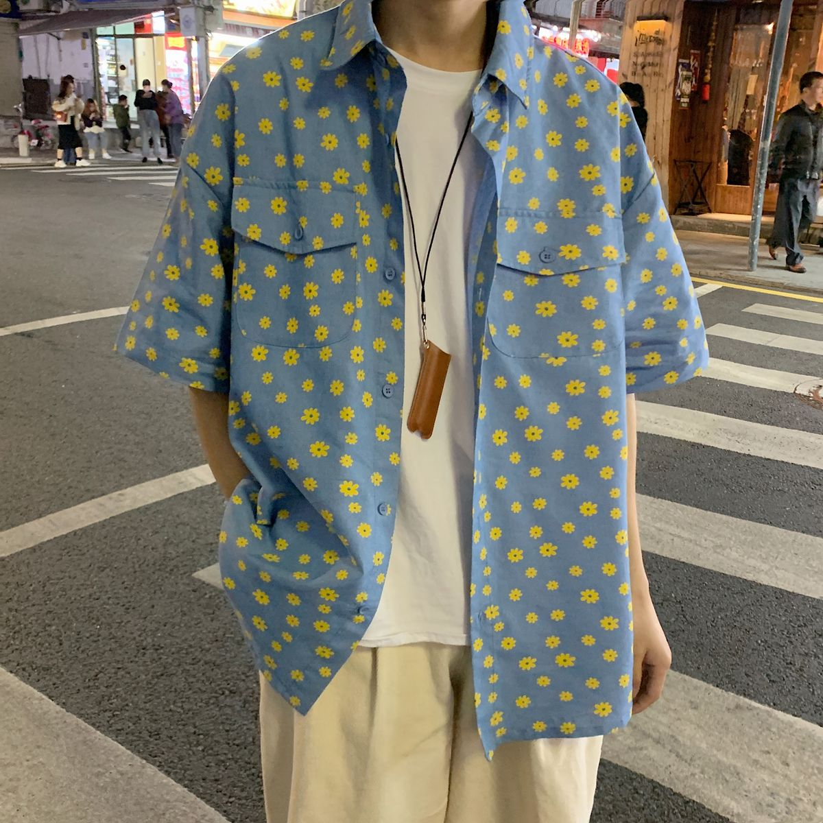 2020 Men's Short Sleeve Hawaiian Shirt Flower Printing Wash Denim Shirt French Cuff Mens Fashion Shirts Camisa Masculina M-2XL