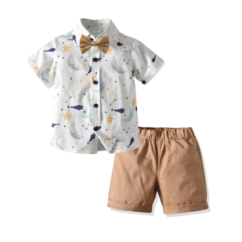 Letnia nowa odzież ustawia chłopiec bawełna casual odzież dziecięca chłopięca sukienka koszula + spodenki spodnie 2 szt. Zestawy ubrań