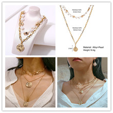 European and American New Creative Retro Simple Irregular Head Seal Artificial Pearl Double Necklace In Autumn 2019
