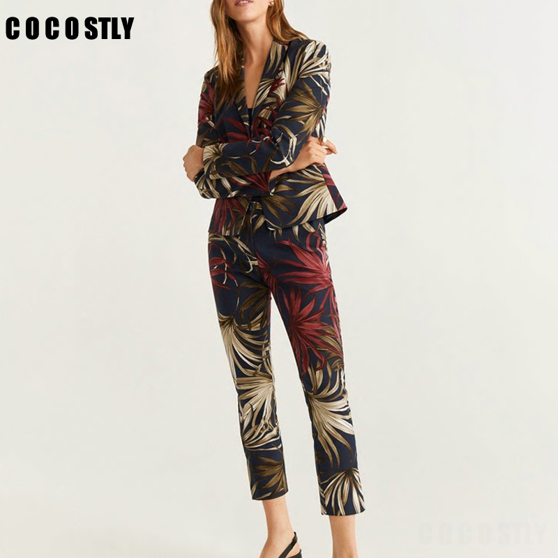 Autumn Flower Print Two Piece Set Women Single Breasted Short Office Lady Jacket Blazer Outwear+Zipper Pant Suits Female Trouser