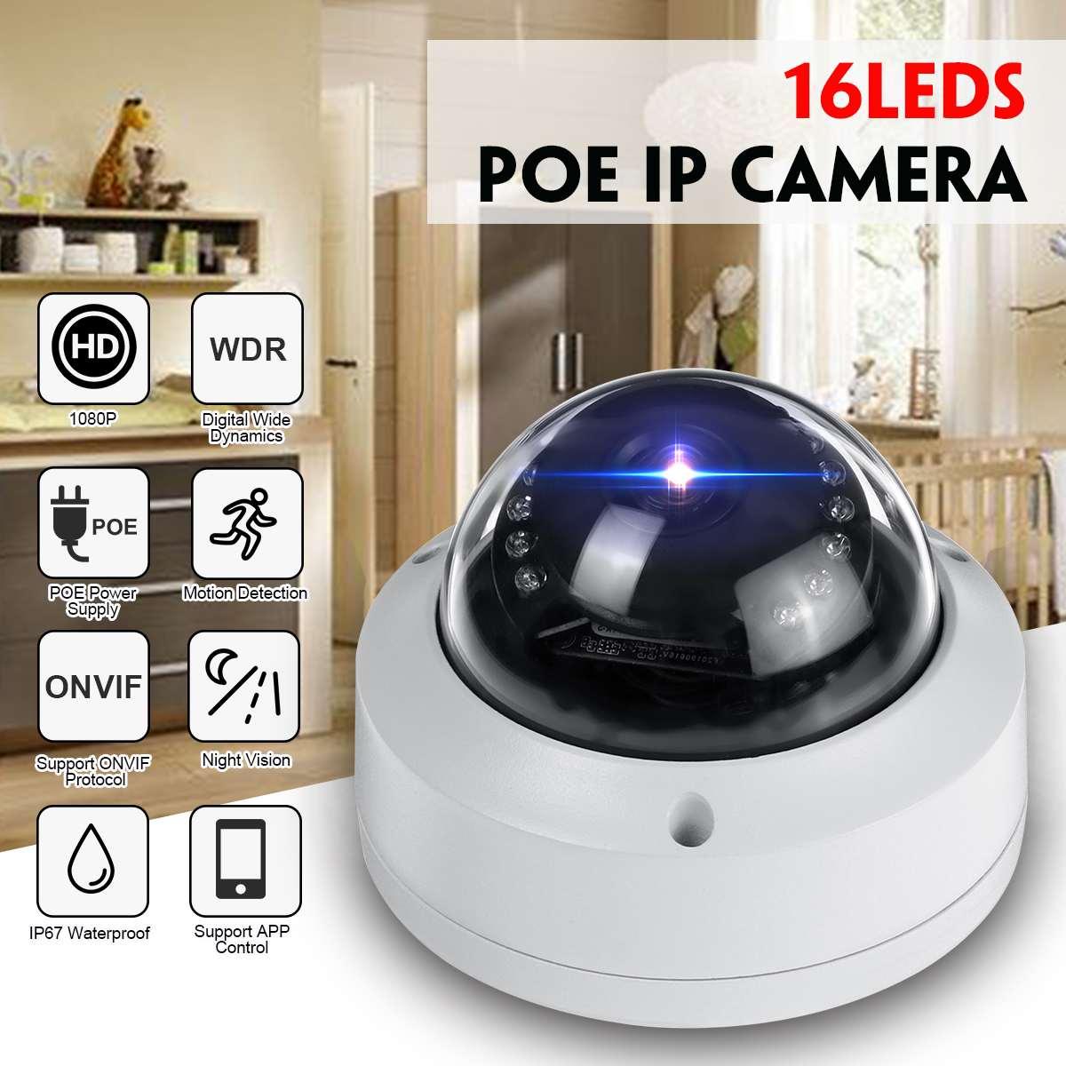 16LEDs 1080P Wifi Camera IP Camera 2MP IR 30M Night Vision Outdoor Indoor Camera wifi home security ONVIF POE