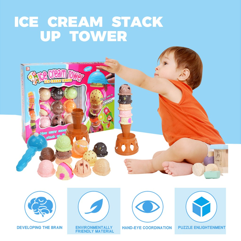 Pretend Play Ice Cream Toys Kids Baby Toy Food Sets Stack Up Tower Nest Pretend Play Children Education Toy L829