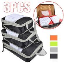 Saco De Armazenamento conjunto 3 pçs/set Compressão compressível Viagem Bagagem Embalagem Cube Organizador dobrável Saco Da Bagagem Do Curso