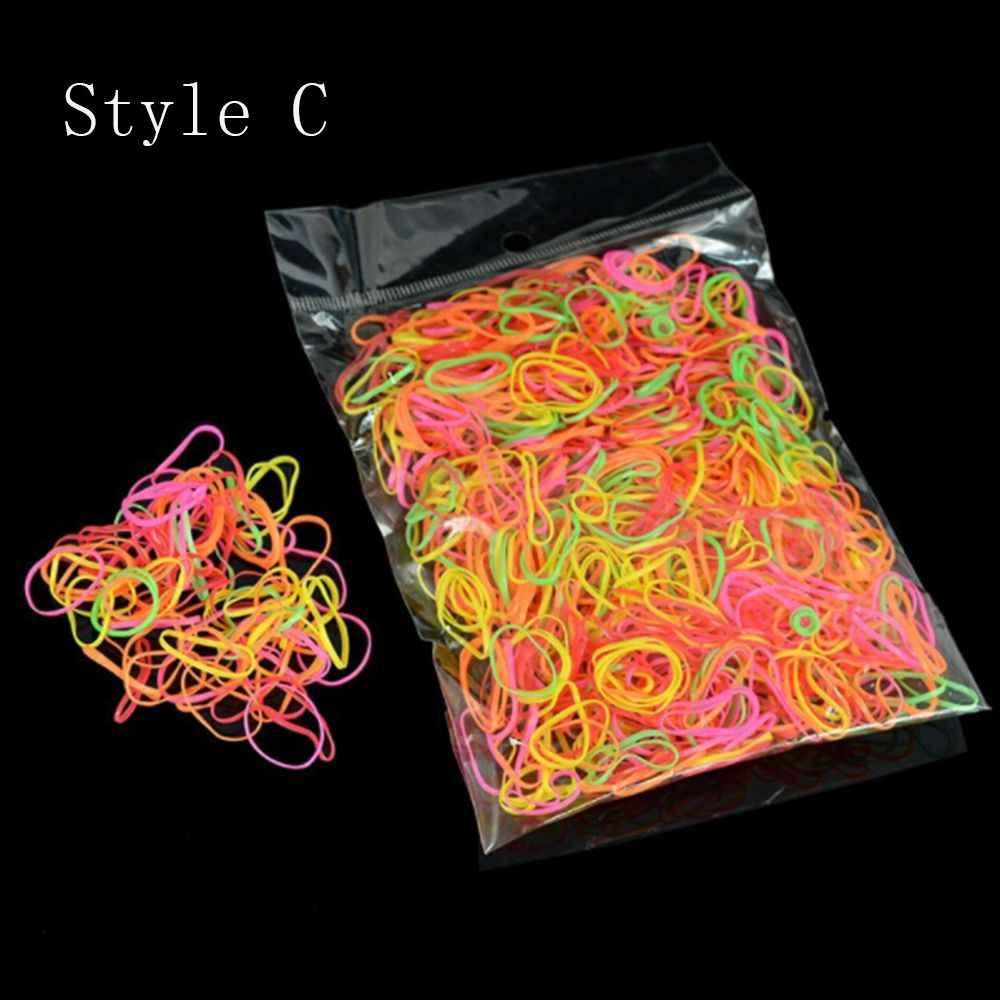 1000 قطعة/الحقيبة الأربطة المطاطية الملونة المتاح للنساء الفتيات 8 أنماط المتاحة الشعر مطاطا حبل بسيط أدوات تصفيف الشعر