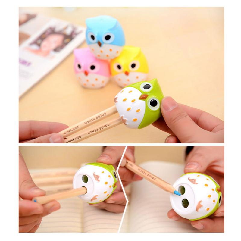 1Pcs 4 COLORS Cute Kawaii Lovely Plastic Owl Automatic Pencil Sharpener Creative Stationery Gifts For Kids School Supplies