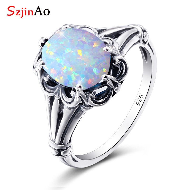 Szjinao Opal Rings 925 Sterling Silver Angel  Witcher Jewelry Accessories Stone Ring Cut Fire Luxury For Women Christmas Gifts