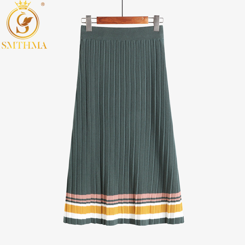 SMTHMA New fashion Womens Runway High Street Color Block Bodycon Knit Skirt High Waist Ladies Autumn Winter Warm Skirts