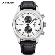 SINOBI メンズクロノグラフスポーツウォッチ男性ミリタリー時計の高級ブランド男性クォーツ時計腕時計レロジオ Masculino