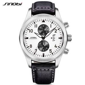 Image 1 - SINOBI Mens Chronograph Sport Horloges Mannen Militaire Lederen Horloge Luxe Merk Mannelijke Quartz Klok Horloges Relogio Masculino