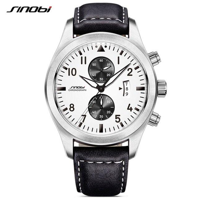 SINOBI Mens Chronograph Sport Horloges Mannen Militaire Lederen Horloge Luxe Merk Mannelijke Quartz Klok Horloges Relogio Masculino
