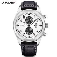 SINOBI Mens Chronograph Sports Watches Men Military Leather Watch Luxury Brand Male Quartz Clock Wristwatches Relogio Masculino