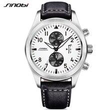 SINOBI Mens Chronograph spor saatler erkekler askeri deri İzle lüks marka erkek kuvars saat kol saatleri Relogio Masculino