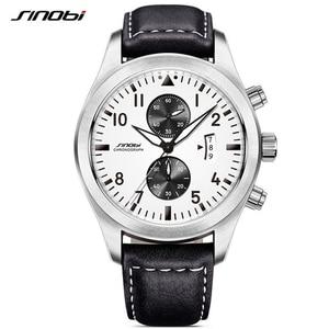 Image 1 - SINOBI męskie chronograf sport zegarki mężczyźni skórzany wojskowy zegarek luksusowej marki zegarek kwarcowy męski na rękę Relogio Masculino