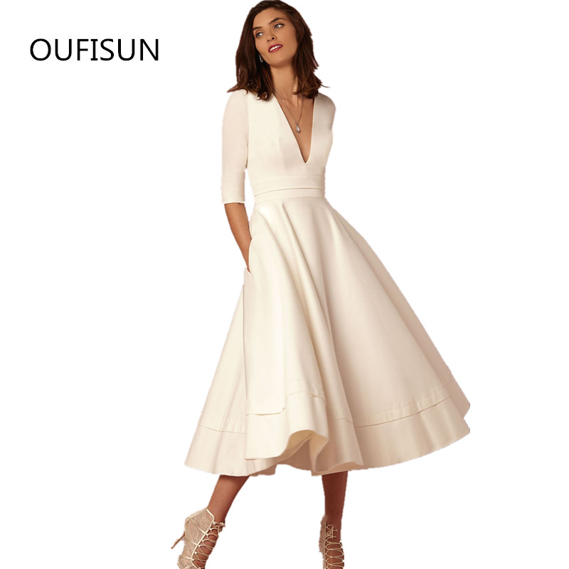 Oufisun 2019 Autumn Women Fashion Swing Party <font><b>Dresses</b></font> Solid <font><b>Sexy</b></font> V Neck Plus Size Midi <font><b>Dress</b></font> Elegant Ladies Party <font><b>Dress</b></font> <font><b>Vintage</b></font> image
