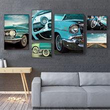 Синие автомобильные плакаты и принты настенная Картина на холсте