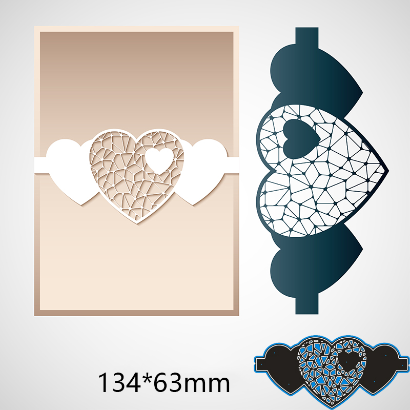 134*63mm Hollow Heart New Metal Cutting Dies For Card DIY Scrapbooking Stencil Paper Craft Album Template Dies