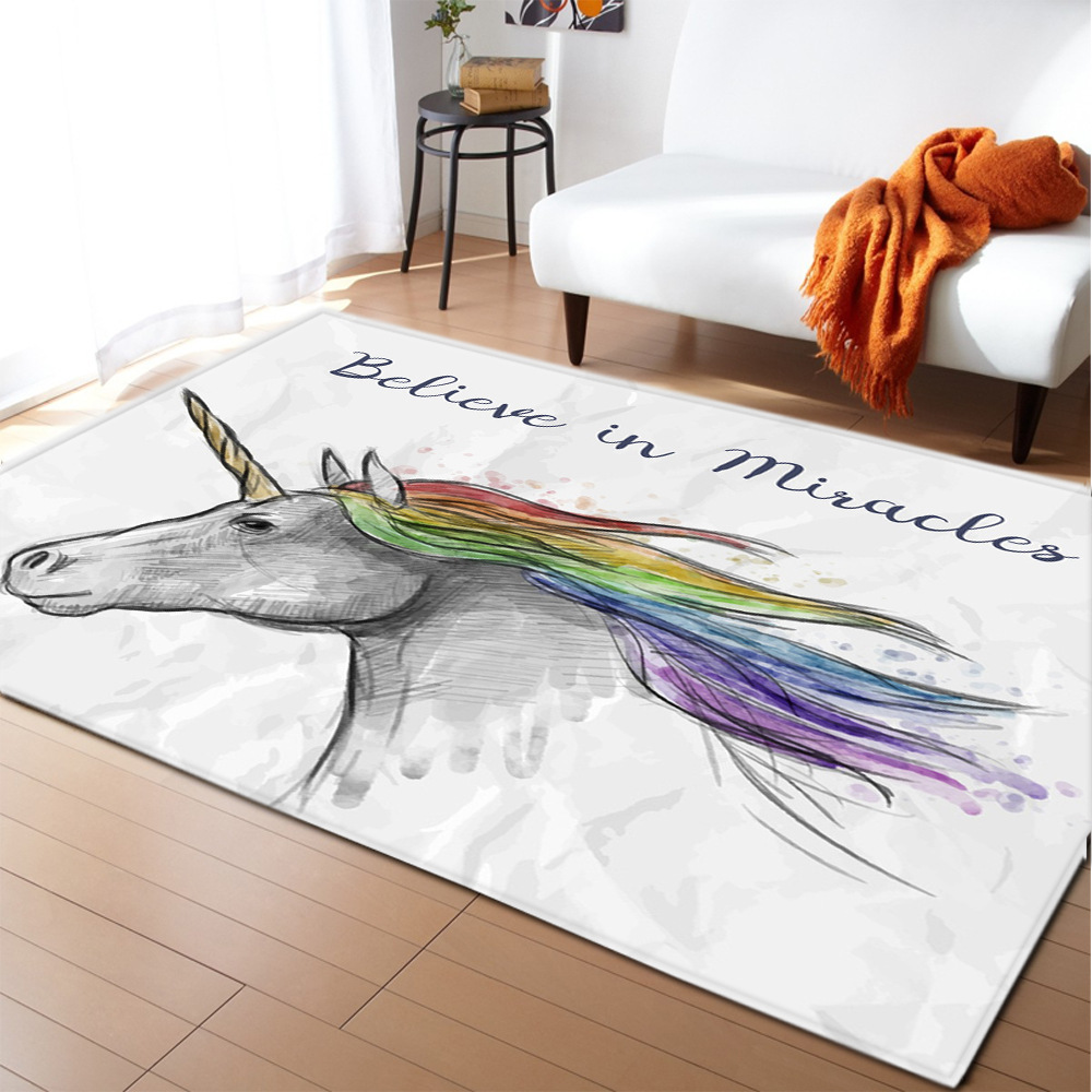 Unicorn 3D Printed Carpet Cartoon Child Play Mat Best Children's Lighting & Home Decor Online Store
