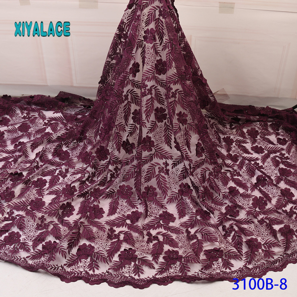 BEAUTIFICAL 3d Lace Flowers Latest  African Lace Styles French Party Lace Fabrics 5 Yards 2019 Tulle Fabric YA3100B-8