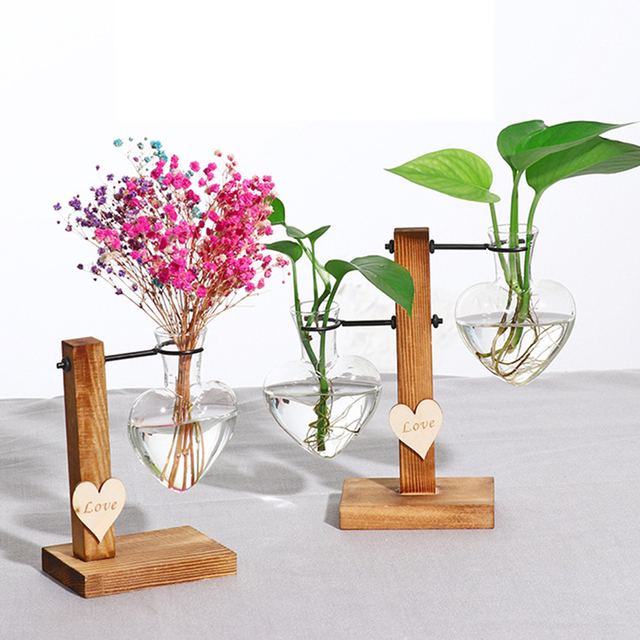 Modern Terrarium Hydroponic Plant Vases Vintage Flower Pot Transparent Vase Wooden Frame Glass Tabletop Plants Home Bonsai Decor 2