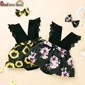 Летний модный комплект одежды для новорожденных девочек с V-образным вырезом, кружевной комбинезон с оборками и цветочным рисунком, комбине...