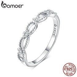Bamoer srebrne pierścionki koronkowe makrama wzór pierścienie dla kobiet 925 srebro Fine Jewelry 2020 Anle Bijoux BSR118