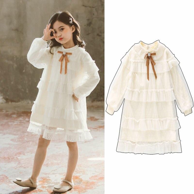 Girls Long Sleeve Dress Tutu Skirt Denim Dress Patchwork Fall Winter Dress