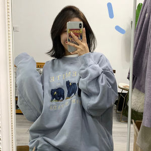 cute three bear embroidery sweatshirt women winter new Korean style loose harajuku hoodies trendy pullover long-sleeved tops
