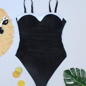 Image 5 - Riseado Push Up One Piece Swimsuits Patchwork Swimsuits Female Black Swimwear Women 2020 Ruched Strap Beach Wear Bathers