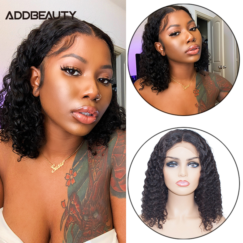Парики из натуральных волос на кружеве Addbeauty, 13x4, бразильские волосы Remy, Короткие парики для волос 13x6