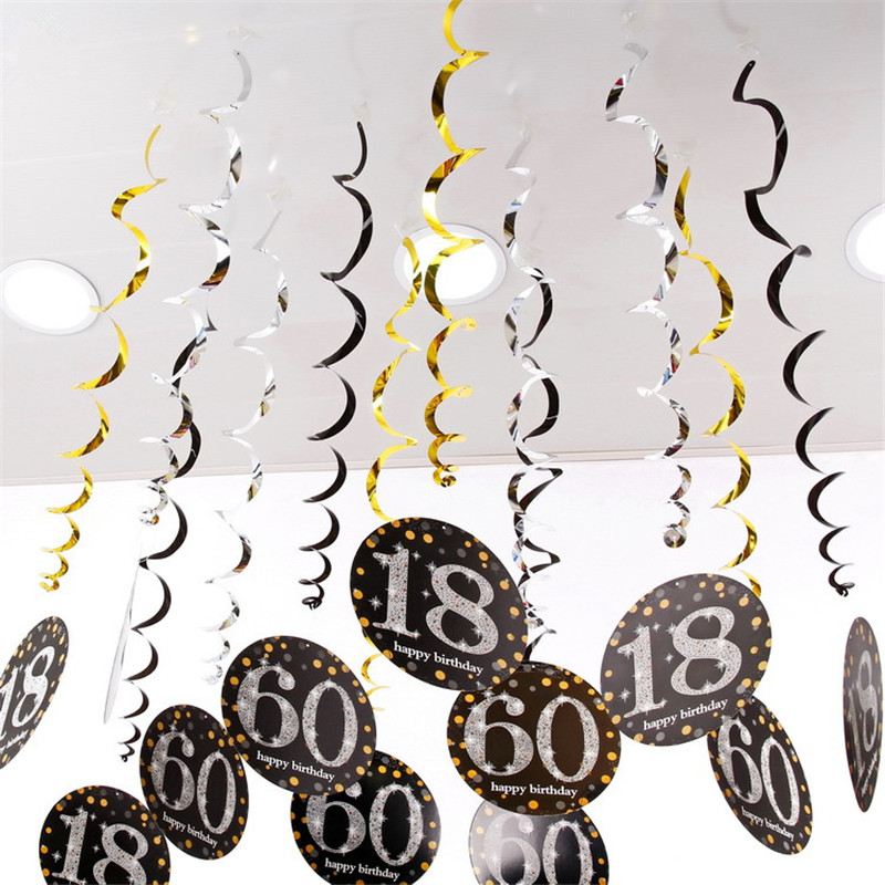 6pcs PVC Spiral Happy <font><b>Birthday</b></font> Swirl <font><b>18</b></font> 21 30 40 50 60 70 Years Old Hanging Ornaments <font><b>Birthday</b></font> Party <font><b>Decorations</b></font> <font><b>Birthday</b></font> Decor image