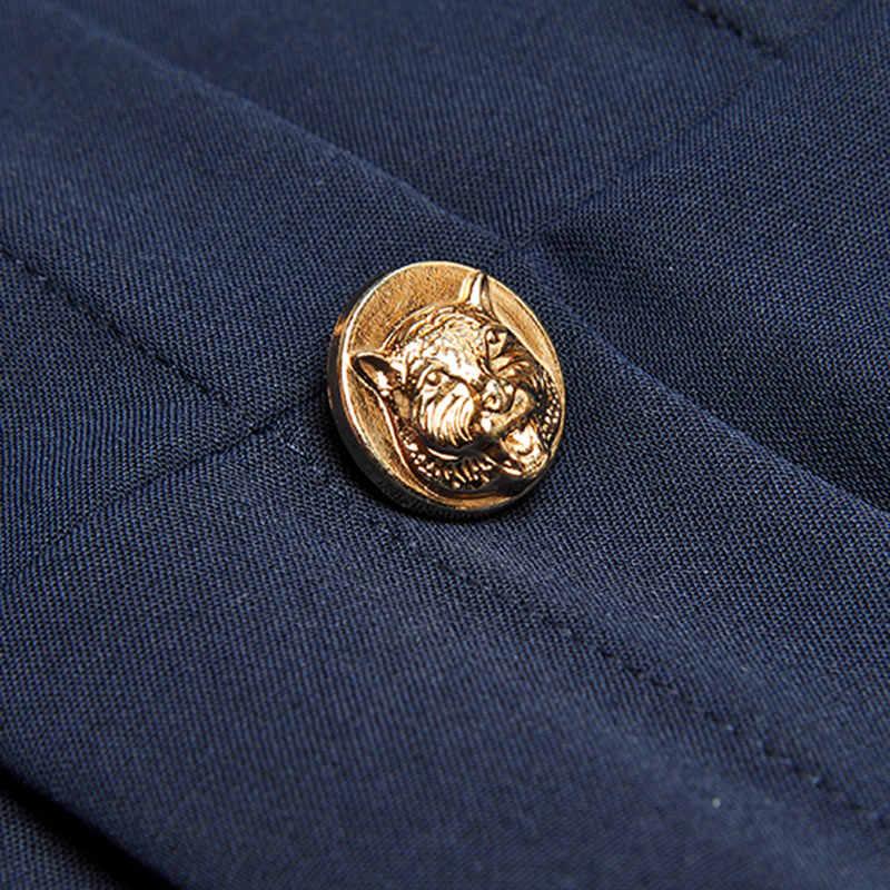 ピンクの花のブローチ紺フリル襟中空アウト長袖ゴールドボタン日常ドレス秋ミディドレス