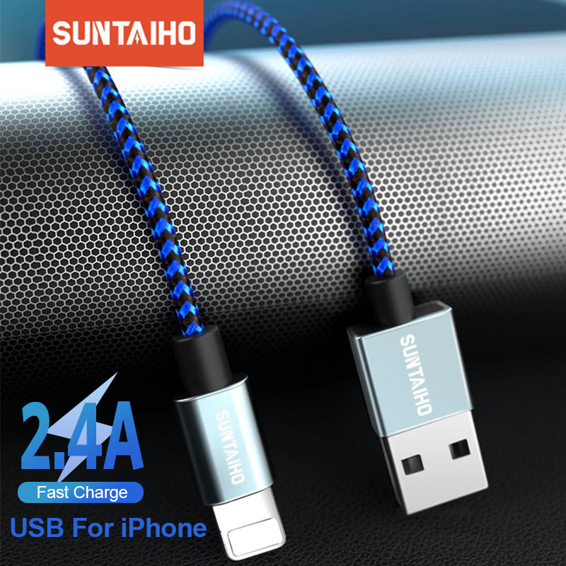 Suntaiho USB Cable For IPhone 11 Pro Xs Max Xr X 7 8 6 Plus 6s 5s Se IPad 2.4A Fast Charging Cable Cord Mobile Phone Data Cable