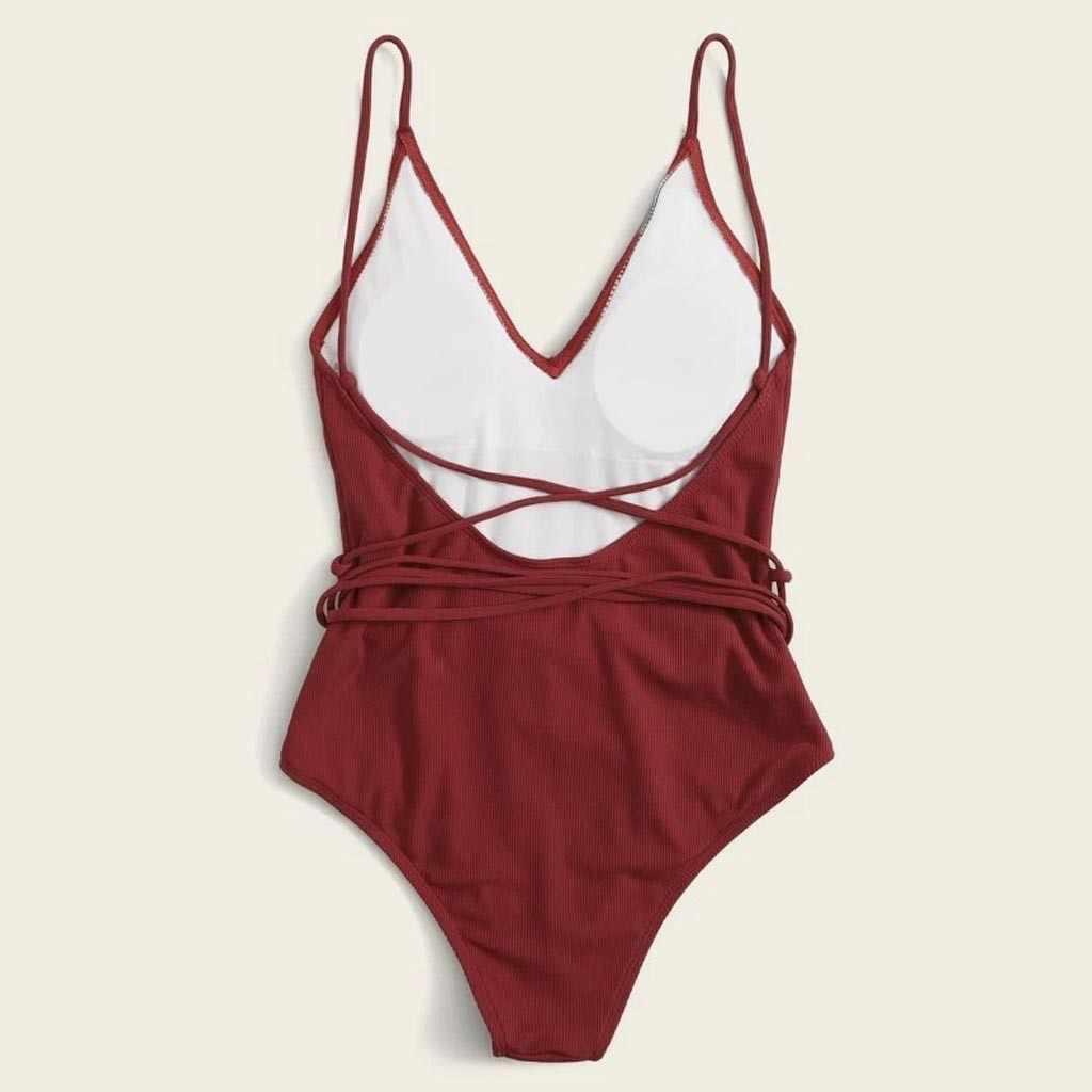 Traje de baño para mujer 2020 estampado de playa Bikini de una pieza playa sexy Bandeau natación push-up traje de baño de verano vacaciones