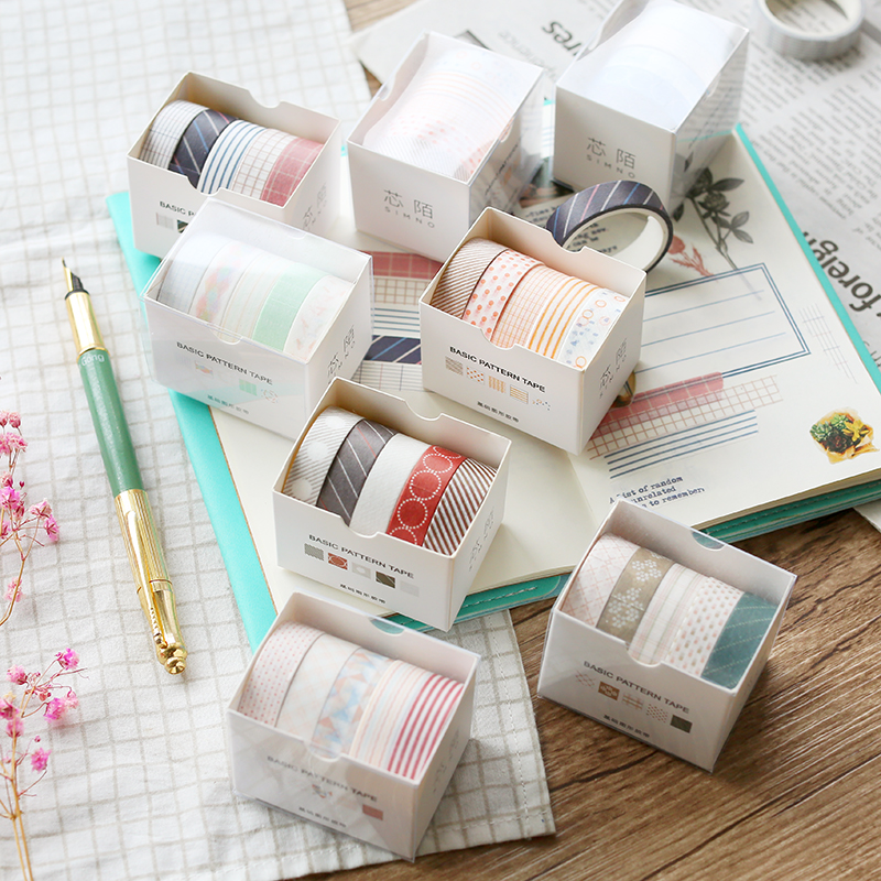10mmX3m 5pcs/set Pure Color Series Geometric Grid Twill Pattern Paper Washi Tape Notebook Scrapbook DIY Learning Stationery