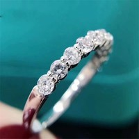 Classic 925 SILVER PAVE 7pcs 4mm Round cut Simulated Diamond ETERNITY ENGAGEMENT WEDDING BAND Rings set for Women Jewelry 2
