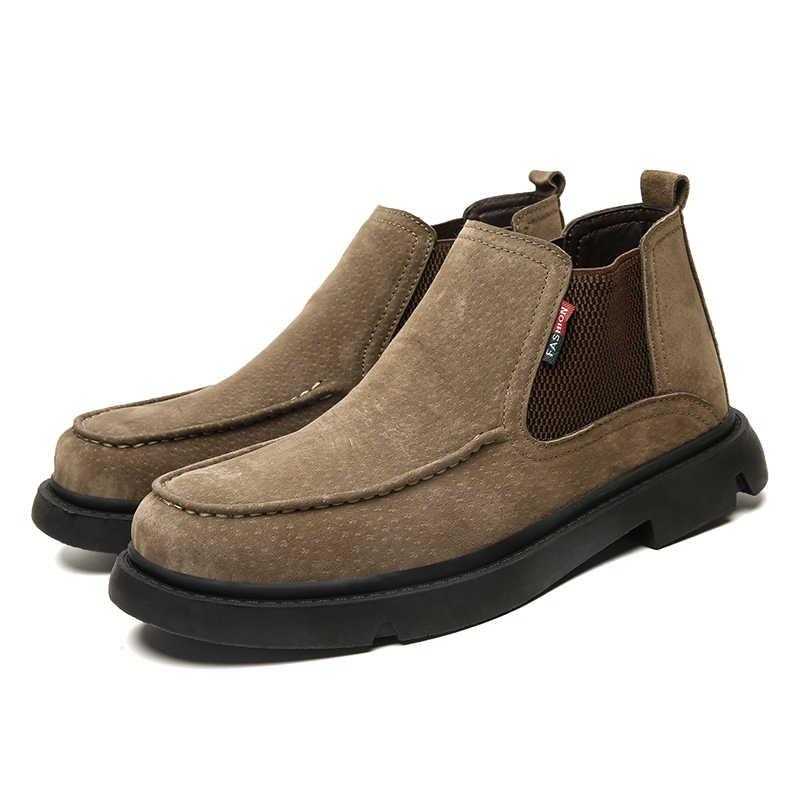 Nieuwe Mannen Platte Winter Warme Laarzen Casual Wandelen Laarzen Mode Lederen Mannen Schoenen Comfortabele Slip Op Mannelijke Waterdichte Sneaker