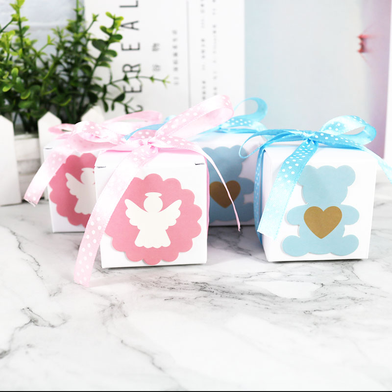 Blue Green Cardboard Box Gift Boxes Baby Shower Favors Paper Bag Candy Packaging Box Birthday Party Supplies 10pcs/lot