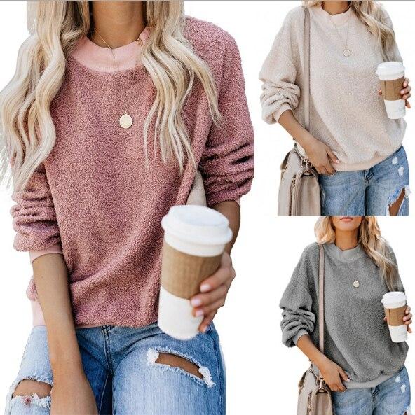 Women Fleece Fluffy Sweatshirt Long Sleeve Patchwork Drawstring Tops Blouse Coat