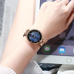Image 4 - CURREN montre à Quartz Simple en strass, charmante, pour femmes, bracelet en cuir, horloge, collection montre pour femme