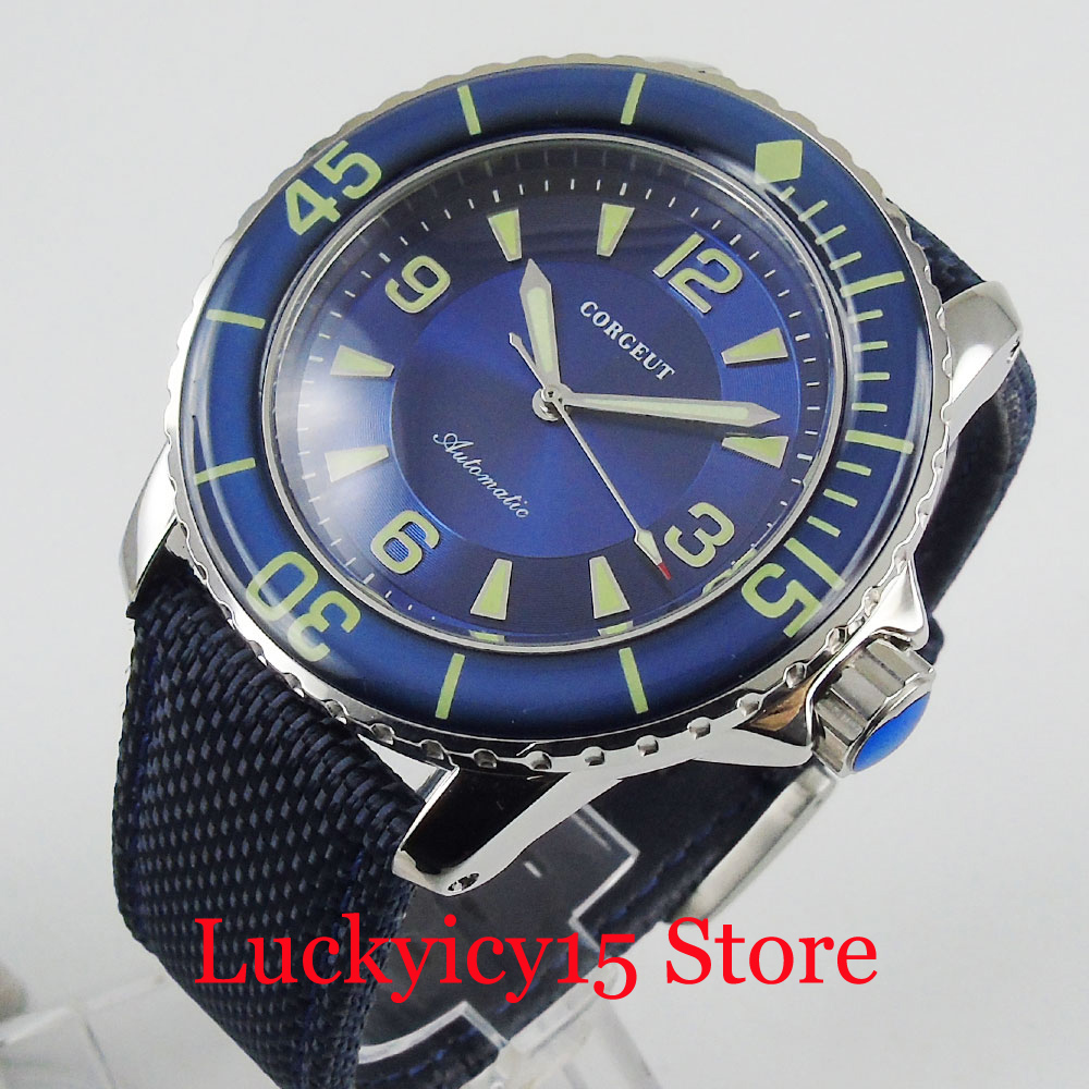 CORGEUT Brand 45mm Blue Dial Rotating Bezel ST Automatic Movement Self Winding Men Wristwatch