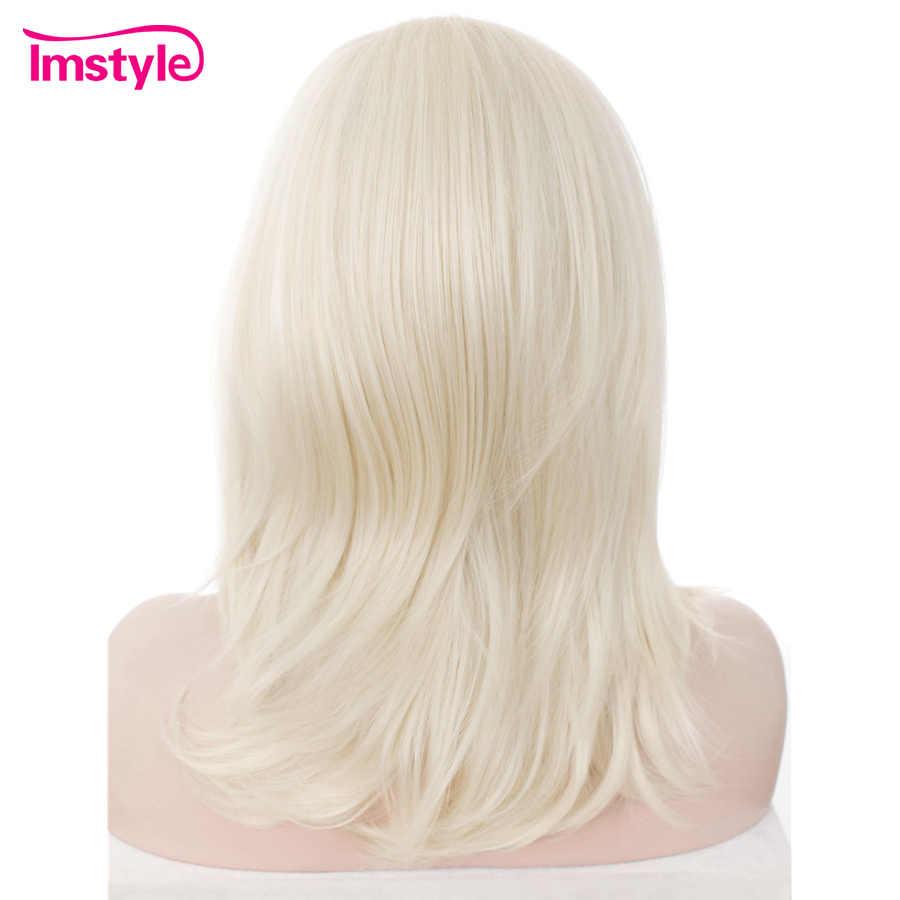 Imstyle Sarışın Peruk Kısa Düz Sentetik Dantel ön peruk ısıya dayanıklı iplik Kadınlar Için Ücretsiz Bölüm Tutkalsız Doğal Saç 14 inç