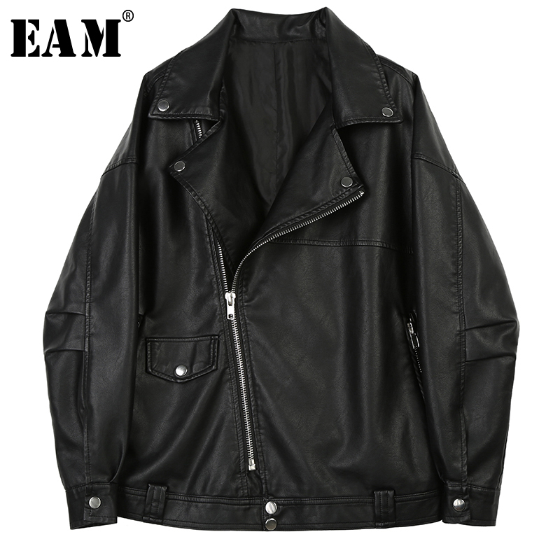 [EAM] Loose Fit Black Oversized Pu Leather Zipper Jacket New Lapel Long Sleeve Women Coat Fashion Tide Spring 2020 1X463 1