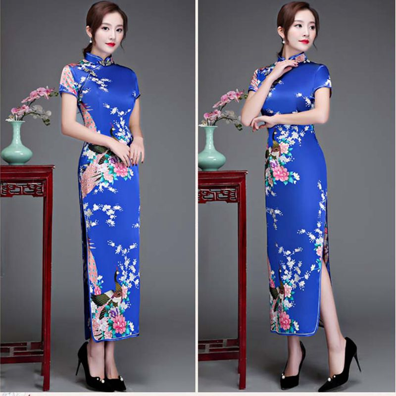 cheongsam qipao New women's artificial silk cheongsam ladies <font><b>sexy</b></font> long cheongsam <font><b>Chinese</b></font> banquet <font><b>dress</b></font> large size 6XL image