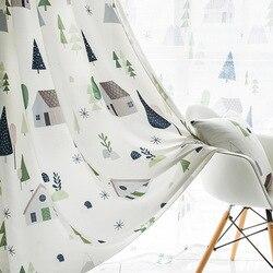 Prosty nowoczesny północnoeuropejski stylowy nadruk zasłony dla dzieci bawełniane i konopne zasłony do salonu sypialni